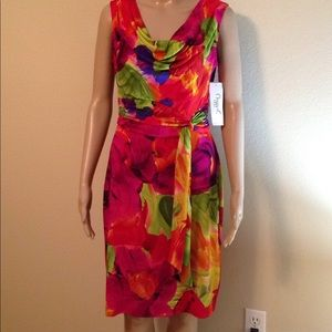 nwt Maggy L multicolored sleeveless dress, size 8